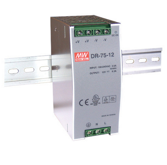 Mean Well DR-75 75W Single Output Industrial DIN Rail Power Supply
