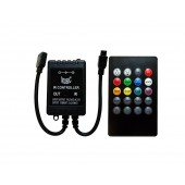 Music 2.0 Audio LED Controller 3 Channels 2A Ch DC 12V-24V Common Anode With 20 Key Remote Control