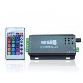 24 Key RGB Music LED RGB Controller Black Color With Remote Control