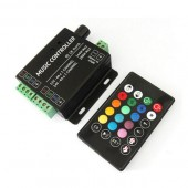 DC12V 24V 12A 3 Channels 2 Ports LED Music Active RGB Controller