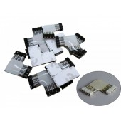 10 Pcs 4 Pin L Shaped Female Connectors for 5050 LED Strips Light White Black