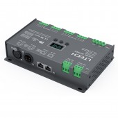 New LTECH LT-912-OLED Led DMX512 Decoder Controller DC 12V 24V Input 4A*12CH 12 Channel Output RGB RGBW Led Strip Controller XLR-3 RJ45
