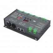New Ltech LT-912 Led DMX Decoder DC 12V 24V Input 4A*12CH 48A Output 1152W RGB RGBW Led Strip 12 Channel DMX decoder XLR-3 RJ45 Port